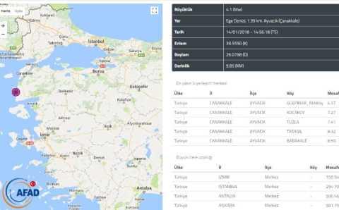 Землетрясение 4,1 балла у побережья Чанаккале