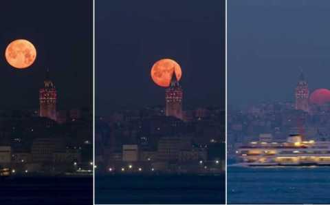 Необыкновенная «кровавая луна» над Стамбулом