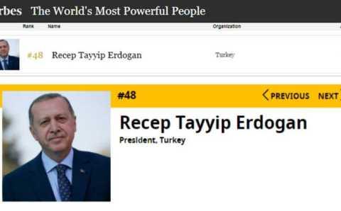 Эрдоган занял 48-е место в списке самых влиятельных людей