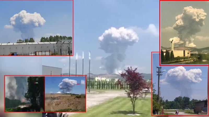 Мощный взрыв на фабрике фейерверков в Сакарье