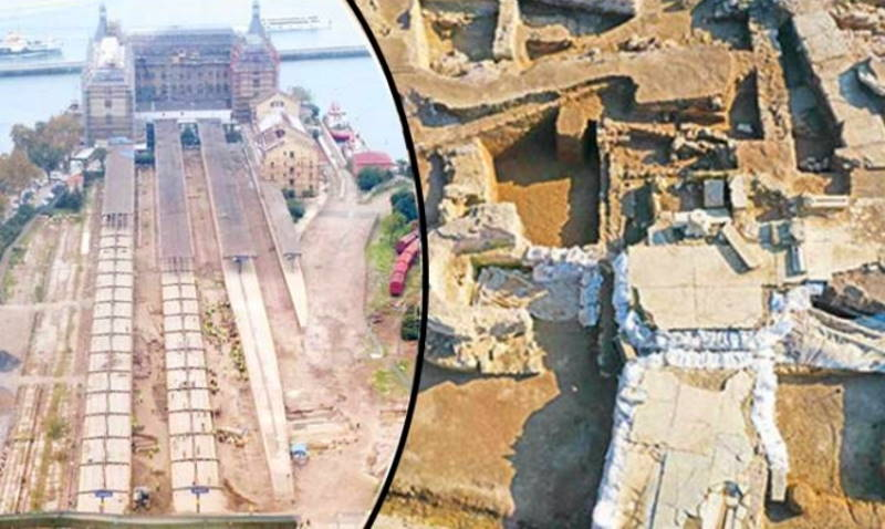 Руины храма на месте перронов вокзала Стамбула
