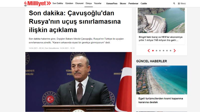 Чавушоглу об ограничении Россией полетов в Турцию