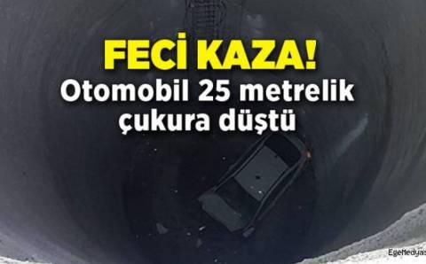 ДТП в Измире: Автомобиль упал в 25-метровую шахту метро