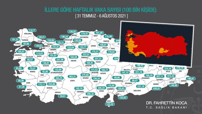 Минздрав Турции: «Красная» карта и Анталия в лидерах