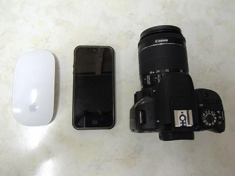 Canon EOS Kiss X7 サイズ比較 iPhone5 Magic Mouse