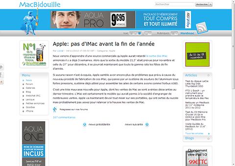 Apple: pas d'iMac avant la fin de l'annee - MacBidouille.com