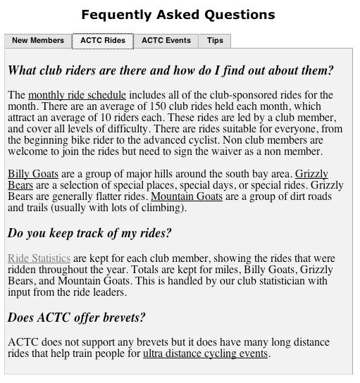 FAQ Rides Section