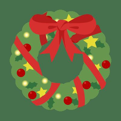 クリスマスリースのイラストをすぐ使える無料のもの8種類27個集めまし