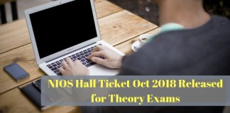 NIOS Hall Ticket Oct 2018 Released for Theory Exams