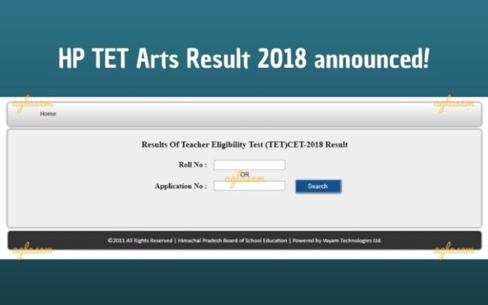 HP TET Arts Result 2018