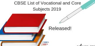 List of Vocational and Core Subjects 2019