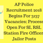 AP Police Recruitment 2018 Begins For 3137 Vacancies; Process Open For SI, RSI, Station Fire Officer, Jailor Posts