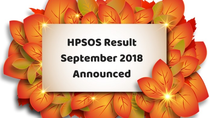 HPSOS Result September 2018 Announced1