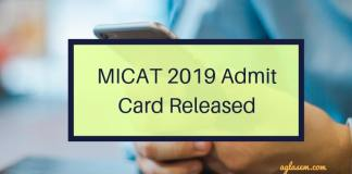 MICAT 2019 Admit Card Released