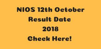 NIOS 12th October Result Date 2018Check Here