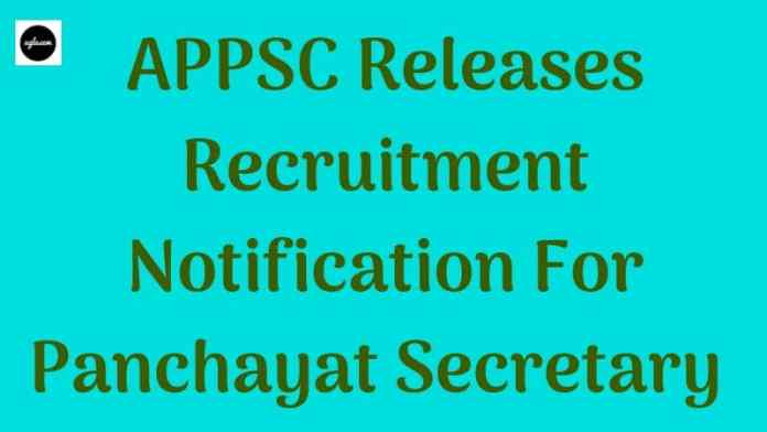 Panchayat Secretary Recruitment Notication Releases Aglasem