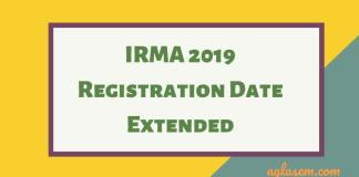 IRMA 2019 Last Date Extended