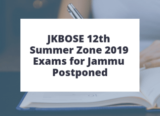 JKBOSE 12th Summer Zone 2019 Exams for Jammu Postponed