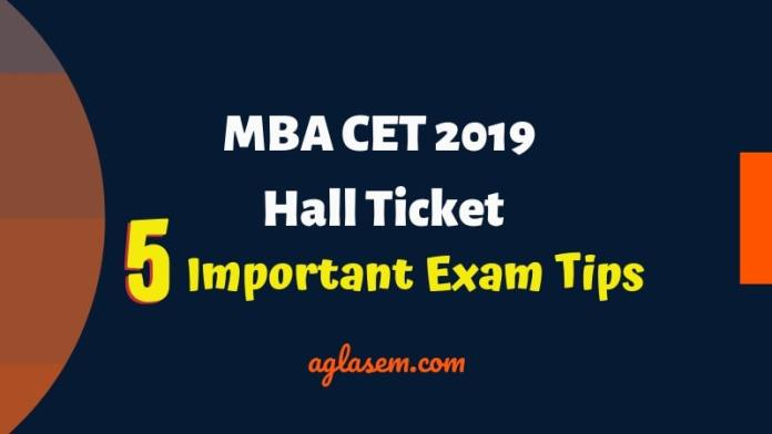 MBA CET Admit Card 2019 Date