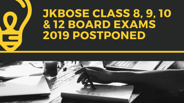 JKBOSE Board Exams 2019 Postponed