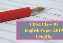 CBSE Class 10 English Paper 2019 Lengthy