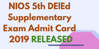 NIOS 5TH DELED SUPPLEMENTARY EXAM ADMIT CARD 2019 RELEASED