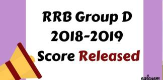 RRB Group D 2018-2019 Score Released Aglasem