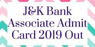 J&K Bank Associate Admit Card 2019 Aglasem