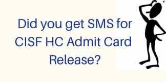 CISF Head Constable Admit Card 2019