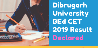 Dibrugarh-University-BEd-CET-2019-Result-Declared-Aglasem