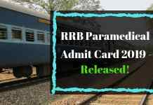 RRB Paramedical Admit Card 2019