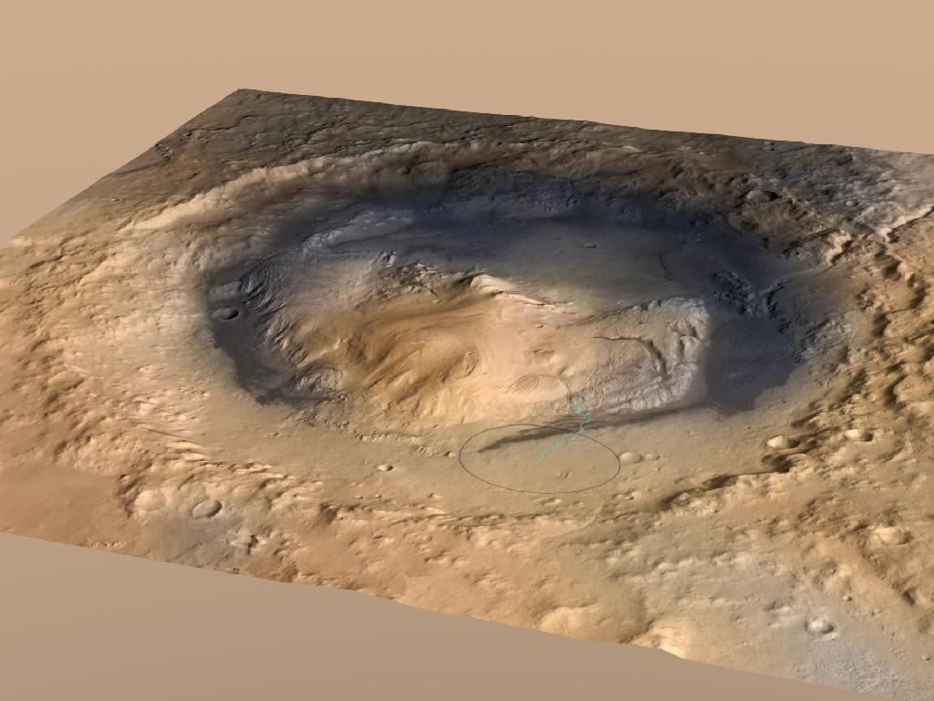 Gale Crater, the landing spot of NASA's Curiosity Mars rover, has a three-mile-high mound at its center called Mount Sharp. The circle indicates the rover's landing place. The blue line is its path. New research shows mounds like this may have been carved by wind over billions of years.