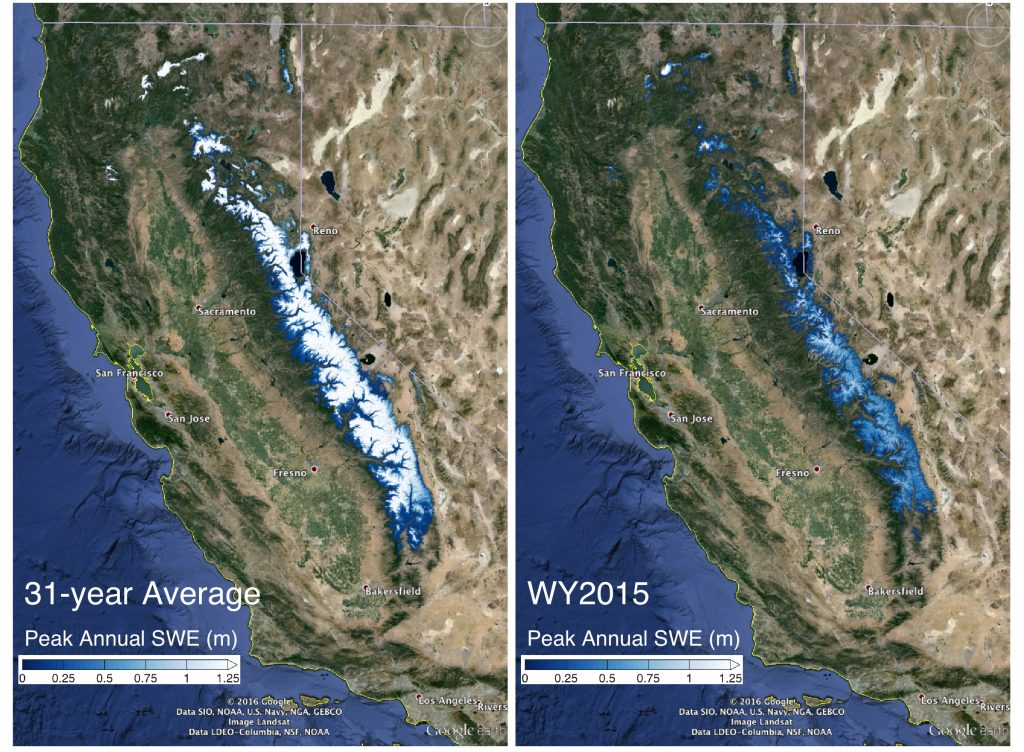 The image on the left shows the 31-year average snow water equivalent in the Sierra Nevada mountains compared with the snow water equivalent in 2015. New research shows even with this winter's strong El Niño, the Sierra Nevada snowpack will likely take until 2019 to return to pre-drought levels. Credit: Steve Margulis/UCLA.