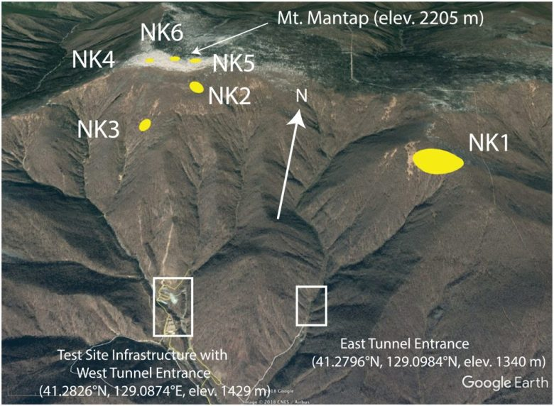 Google Earth image of the Democratic People's Republic of Korea test site looking down from south‐southeast of Mount Mantap. Numbers mark the estimated locations of the six nuclear tests conducted from 2006 to 2017. From figure 1 of the new paper. Credit: Google Earth/AGU