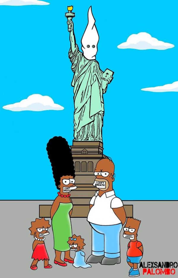 black simpsons cartoons protest