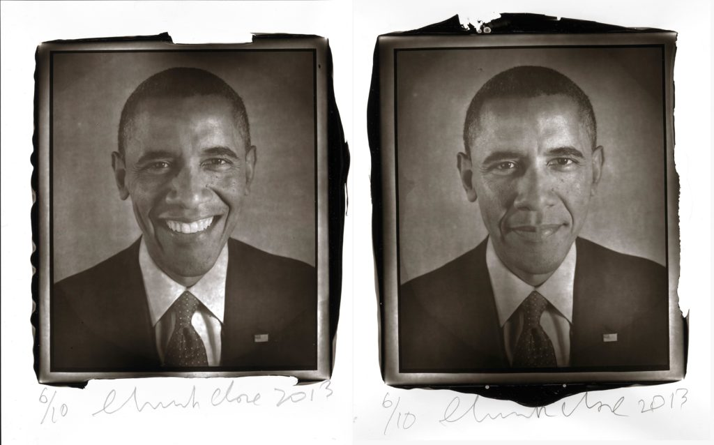 Chuck Close, portrait of Barack Obama (2013). Courtesy of Two Palms and Chuck Close/National Portrait Gallery.