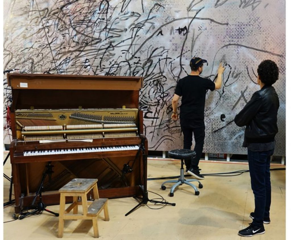 Artists Julie Mehretu and Jason Moran in rehearsal. Photo: Damien Young courtesy of Performa.