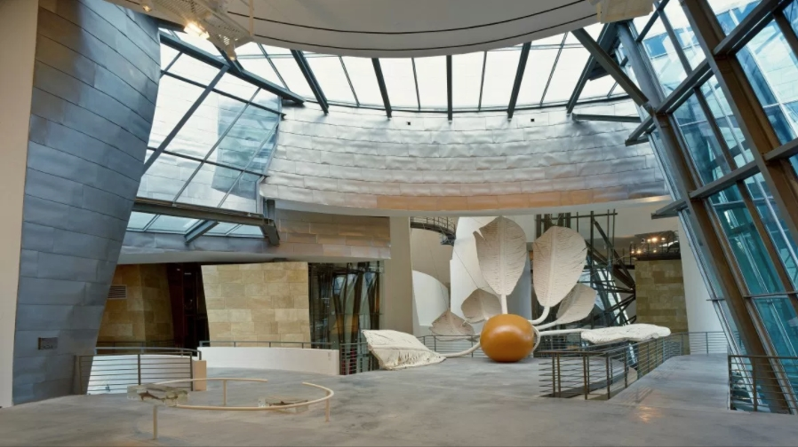 Interior of the Guggenheim Bilbao, photo: David Heald. Image courtesy of the Guggenheim.