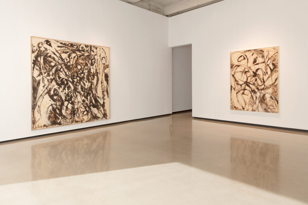 Lee Krasner, Uncaged (1960) and Assault On the Solar Plexus (1961), installation view. © 2017 The Pollock-Krasner Foundation/Artists Rights Society (ARS), New York. Photo courtesy of Paul Kasmin Gallery.