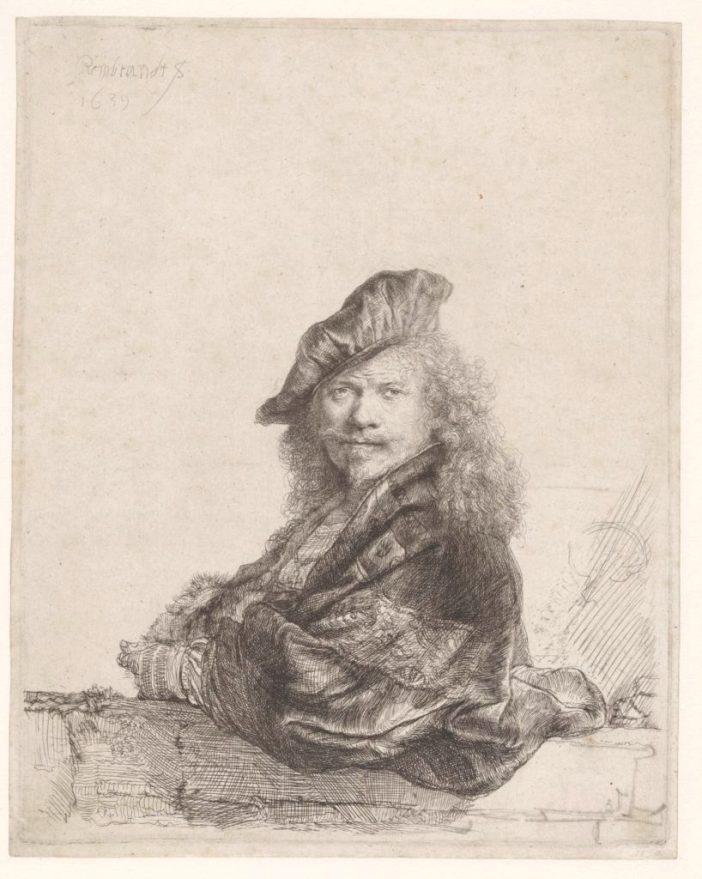Rembrandt van Rijn, Self-portrait with the forearm leaning on a stone threshold (1639). Rijksmuseum.