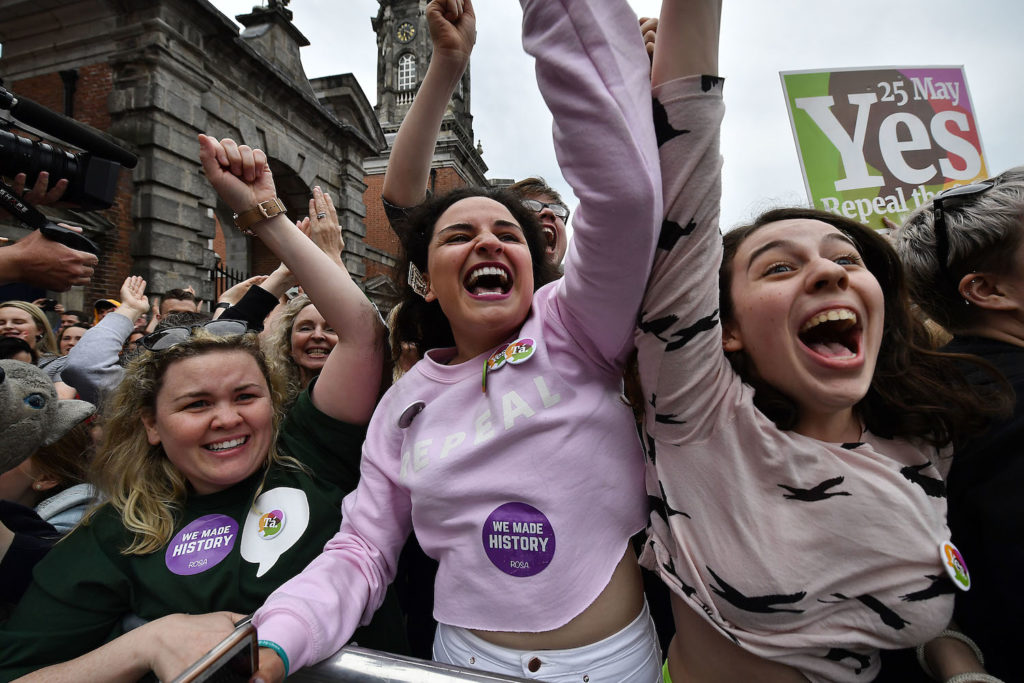 Yes voters celebrate as the result of the Irish referendum on the 8th amendment concerning the country's abortion laws is declared at Dublin Castle on May 26, 2018 in Dublin, Ireland. Photo by Charles McQuillan/Getty Images.