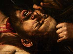 Caravaggio, Judith Beheading Holofernes (circa 1607), detail. Courtesy of Cabinet Turquin.
