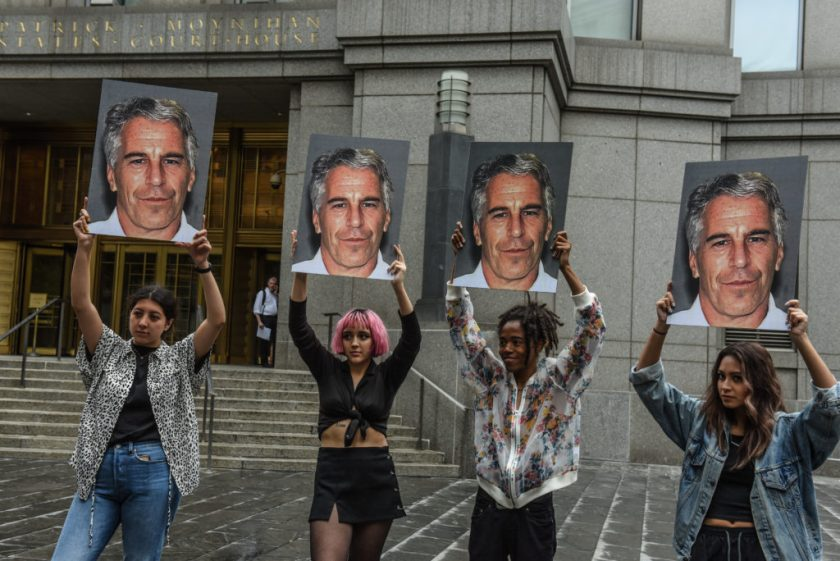Protesters outside the courthouse where Jeffrey Epstein was charged with sex trafficking and conspiracy to traffic minors in New York City. (Photo by Stephanie Keith/Getty Images)