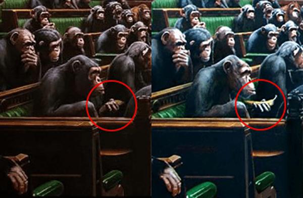 À esquerda, a versão atual da tela de Banksy; à direita, sua aparência anterior