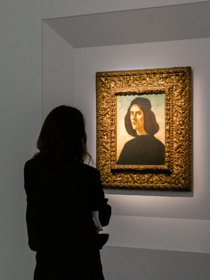 Portrait of Michael Tarchaniota Marullus by Sandro Botticelli at the stand of Trinity Fine Arts in Frieze Masters 2019. Photo by Mark Blower. Courtesy of Mark Blower/Frieze.