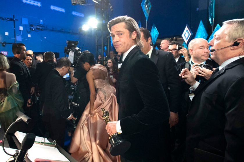 Brad Pitt, who the art world frantically claims as its own, backstage at the 92nd Annual Academy Awards in Hollywood, California. (Photo by Richard Harbaugh - Handout/A.M.P.A.S. via Getty Images)