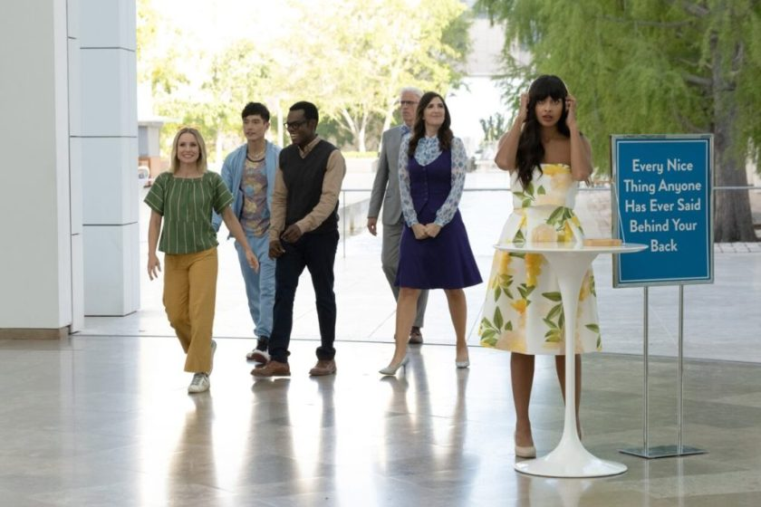 """Kristen Bell as Eleanor, Manny Jacinto as Jason, William Jackson Harper as Chidi, D'Arcy Carden as Janet, Ted Danson as Michael, and Jameela Jamil as Tahani, on the grounds of the Getty Center in episode """"Patty"""" on <em>The Good Place</em>. Photo by Colleen Hayes/NBC."""" width=""""1024″ height=""""683″ srcset=""""https://news.artnet.com/app/news-upload/2020/02/getty–1024×683.jpeg 1024w, https://news.artnet.com/app/news-upload/2020/02/getty–300×200.jpeg 300w, https://news.artnet.com/app/news-upload/2020/02/getty–50×33.jpeg 50w, https://news.artnet.com/app/news-upload/2020/02/getty-.jpeg 1260w"""" sizes=""""(max-width: 1024px) 100vw, 1024px""""></p> <p class="""