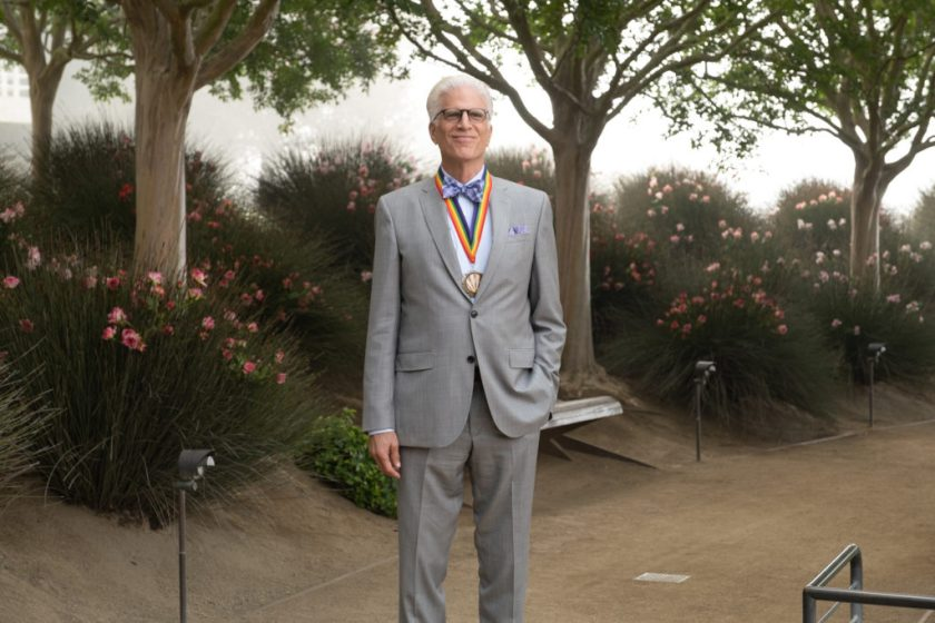 """Ted Danson as Michael, on the ground of the Getty Center in episode """"Patty"""" on The Good Place. Photo by Colleen Hayes/NBC."""