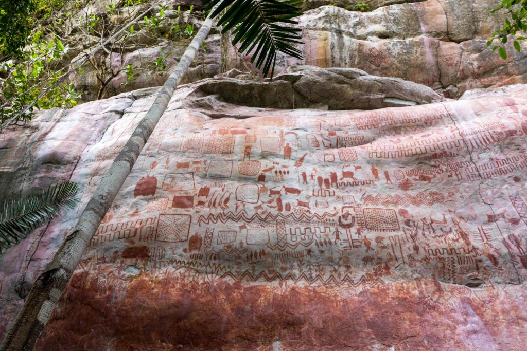The pre-Columbian rock art at Cerro Azul in Guaviare state, Colombia dates back around 12,000 years. Photo by Marie-Claire Thomas, courtesy Channel 4.