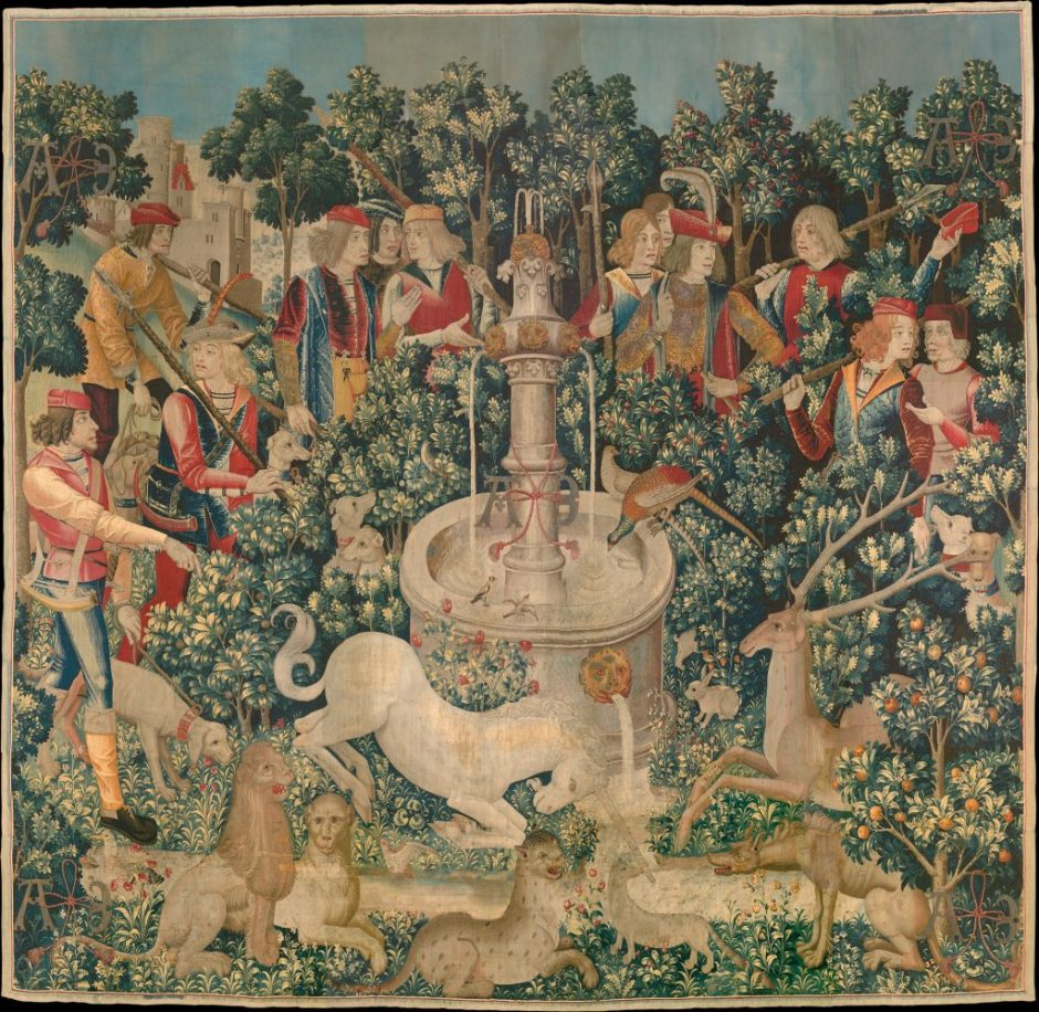 """A classic Flemish mille-fleurs tapestry """"The Triumph of Death, or the Three Fates"""" (circa 1510–20)."""
